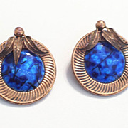Vintage MATISSE RENOIR Blue Enamel Copper Botanical Clip Earrings, Very Rare Design