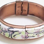 Rare Vintage MATISSE RENOIR Copper Enamel Hinged Clamper Bangle Bracelet