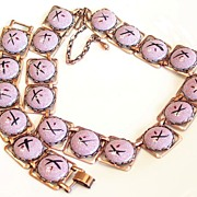 SALE Bold Vintage Enamel Copper Modernist Necklace & Bracelet Set