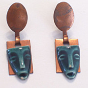 REDUCED Vintage Figural Primitive Tribal Mask Teal Ceramic and Copper Screwback Dangle Earring