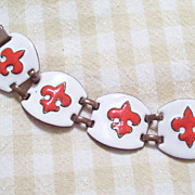 Vintage Copper Red and White Enamel Fleur de Lis Wide Link Bracelet