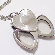 Vintage CORO Pegasus Heart Locket Pendant, Silvertone Art Deco Nouveau Style, Multiple Photo M
