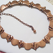 Rare Vintage RAME' Copper Hearts Swag Link Necklace