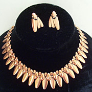 Rare Vintage RAME' Copper Modernist Abstract Elliptical Link Necklace