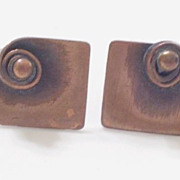 Vintage REBAJES Copper Modernist Swirl Bead Screwback Earrings
