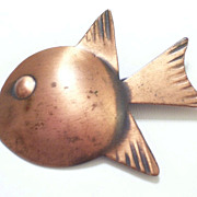 Rare Vintage REBAJES Copper Modernist FISH Large Figural Pin Brooch