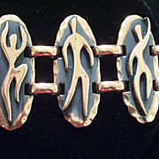 Vintage REBAJES Copper DANCERS Wide Link Bracelet Jewelry
