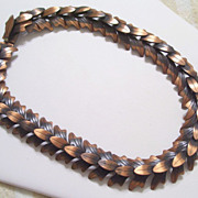 Rare Vintage REBAJES Copper Woodland Layered Leaf Link Choker Collar Necklace