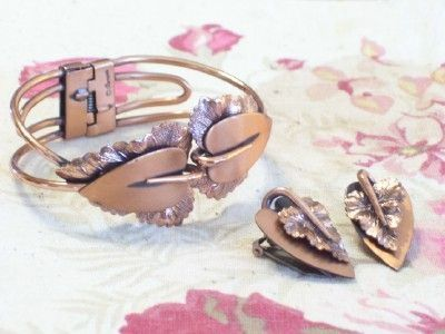 Rare Vintage RENOIR Copper Double Heart Leaf Hinged Clamper Bracelet & Clip Earrings Set