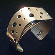SALE PENDING Rare Vintage RENOIR Copper SWISS CHEESE Modernist Cuff Bracelet