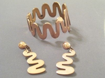 Rare Vintage RENOIR Copper CLEOPATRA Modernist Snake Hinged Bracelet & Clip Earrings Set