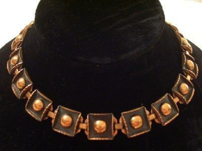 Rare Vintage RENOIR Copper Black Enamel Bold Modernist Recessed Squares Necklace