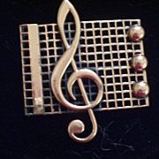 REDUCED Vintage RENOIR Copper Music Notes Treble Clef Pin Brooch