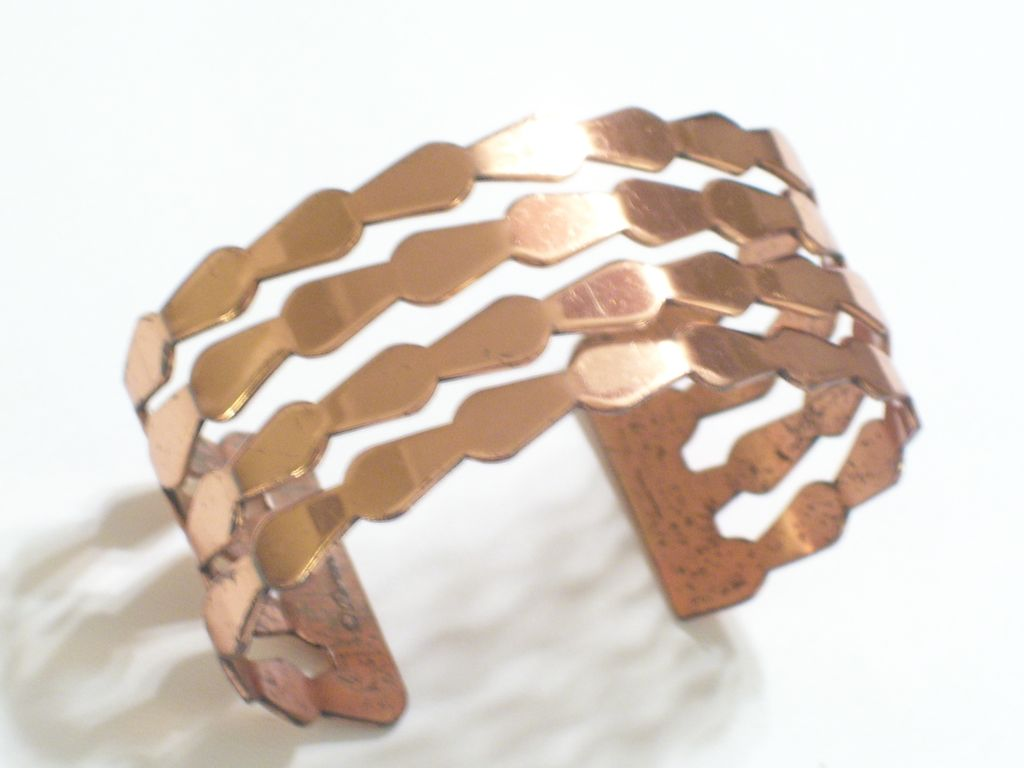 Vintage RENOIR Copper Wide Modernist Abstract Cuff Bracelet