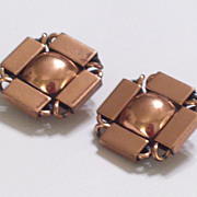 Vintage RENOIR Copper Modernist Geometric Clip Earrings