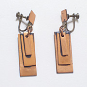 Very Rare Vintage Early RENOIR Hand Made Copper Modernist Geometric Dangle Screwback Earrings