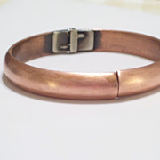 SOLD Vintage WHITING DAVIS Sleek Modernist Copper Hinged Bangle Bracelet