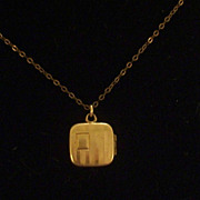 SALE Tiniest Vintage Victorian Gold Filled Etched Striped Square Locket Pendant Necklace, Deli