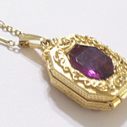 Vintage GOLDETTE Faux Amethyst Ornate Octagonal Locket Pendant Necklace Reversible