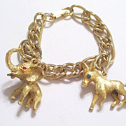 REDUCED Chunky Vintage 3D Donkey Elephant Charms, Red Blue Rhinestones, Gold Plated Charm Brac