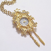 SALE PENDING Vintage Regent Goldtone Rhinestone Cuckoo Clock Pin Pendant Working Watch Necklac