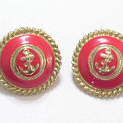 Vintage Nautical Anchor Red Enamel Goldtone Pierced Post Earrings