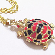Vintage Sea Turtle Perfume Locket Pendant Necklace, Red and Black Enamel, Goldtone Metal