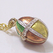 Vintage Rhinestone Enamel Goldtone Egg Locket Pendant Necklace