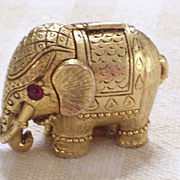 REDUCED Vintage Tiny Tusker Elephant Solid Perfume Goldtone Rhinestone Compact Rare