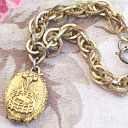 REDUCED Vintage Corday Unicorn in Captivity Perfume Locket Chunky Chain Link Charm Bracelet Or
