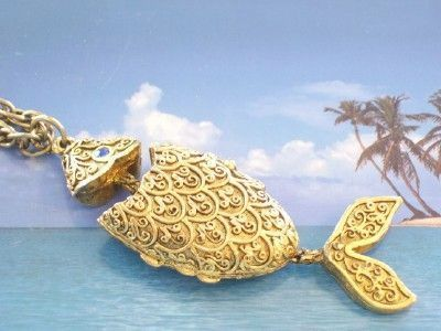 Vintage Ornate CORDAY Goldtone Articulated Fish Perfume Locket Pendant Necklace
