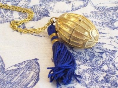 Vintage Estee Lauder Golden Egg Perfume Locket Pendant Necklace