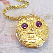 Whimsical Vintage REVLON Bright Eyed Owl Goldtone Perfume Locket Pendant Necklace
