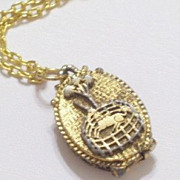 Vintage Unicorn in Captivity Gold Tone Perfume Locket Pendant Chain Necklace