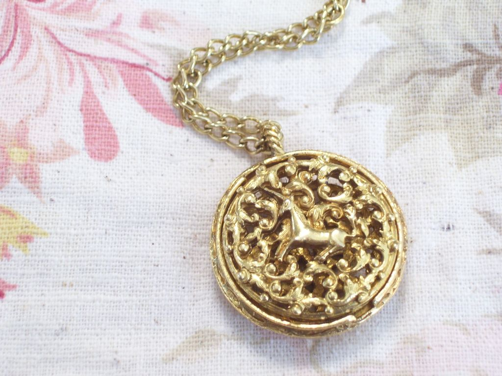 Rare Vintage Corday Golden Unicorn Ornate Filigree Twist Perfume Locket Pendant Necklace