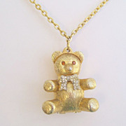 Vintage Teddy Bear Perfume Locket Pendant Necklace