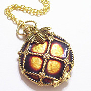 Rare Vintage Enamel Goldtone Pocket Watch Style Perfume Locket, Reversible Pendant Necklace, A
