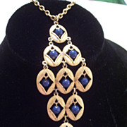 Huge Vintage Articulated Waterfall Pendant Necklace, Navy Blue Faux Lapis Beads