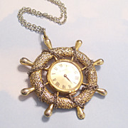Rare Vintage Nautical Silvertone and Goldtone Large Working Watch Pendant Necklace