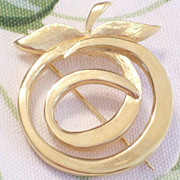 REDUCED Rare Vintage RENOIR SAUTEUR Golden Glow Modernist Apple Pin Brooch