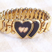 SOLD Vintage WWII Speidel Phoenix Gold Plated Double Heart Sweetheart Expansion Flex Stretch B
