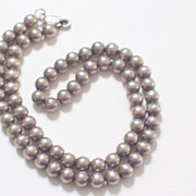 Vintage Sterling Silver Ball Bead Necklace 5 mm Beads 16.5 inches