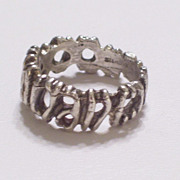 REDUCED Vintage Brutalist Modernist Sterling Silver Ring Size 6.5