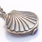 REDUCED .Rare Vintage Helena Rubinstein Silver Plated Sea Shell Nautical Perfume Locket Pendan
