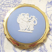 SALE Vintage Stratton Three Graces English Wedgwood Jasperware Compact Case Original Pouch
