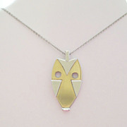 Rare Vintage Crown TRIFARI Two Tone Goldtone and Silvertone Metal Modernist Owl Pendant Neckla