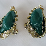 Coro Green and Goldtone Clip Earrings