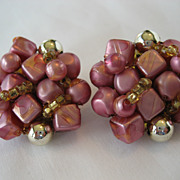 Pink, Amber, and Goldtone Clip Earrings