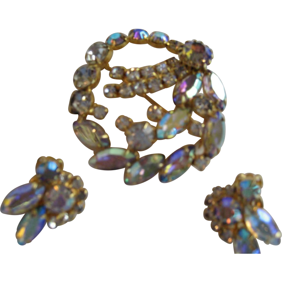 Aurora Borealis Brooch/Pin and Clip Earrings