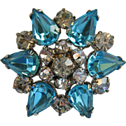 Small Blue and Clear Rhinestone Pin on Silvertone Metal